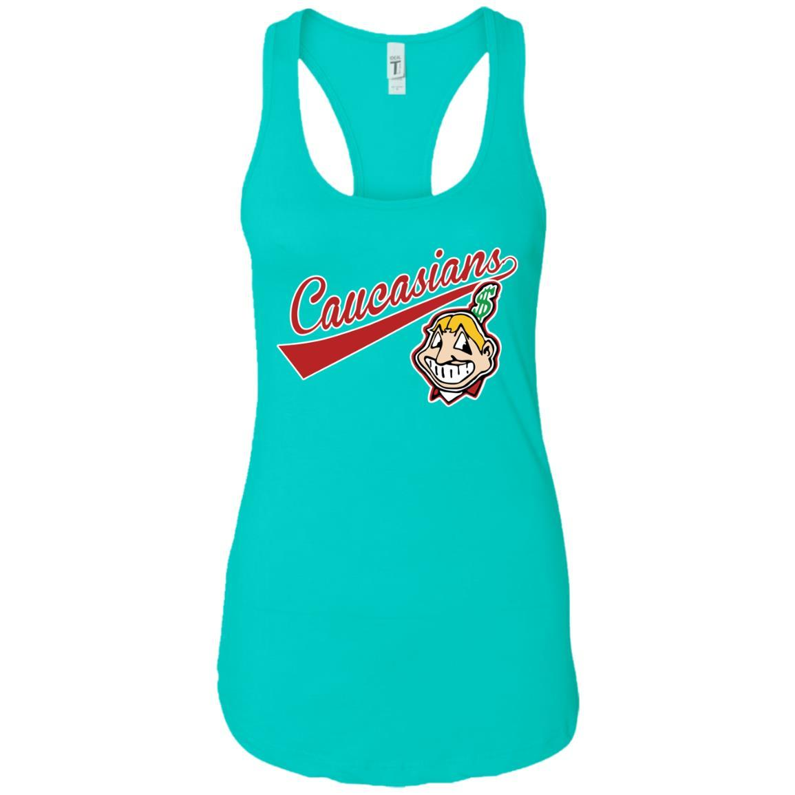 Cleveland Caucasians Native Go Indians - Ladies Ideal Racerback Tank Tahiti Blue / 2XL