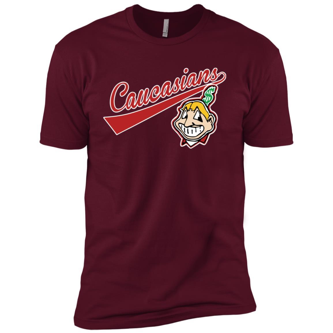 Cleveland Caucasians Native Go Indians - Short Sleeve T-Shirt Maroon / 3XL