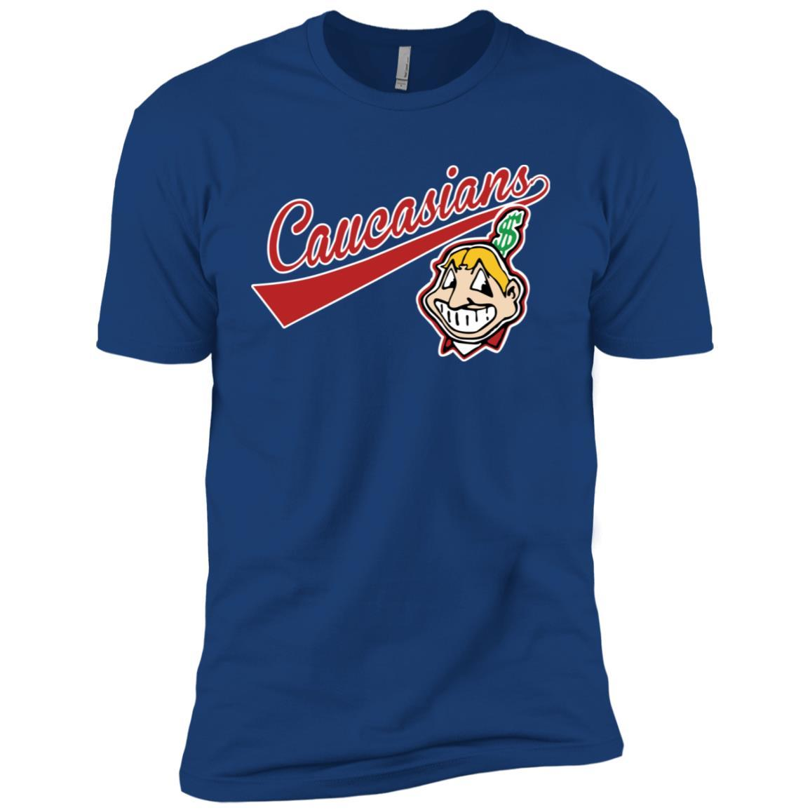 Cleveland Caucasians Native Go Indians - Short Sleeve T-Shirt Royal / 4XL