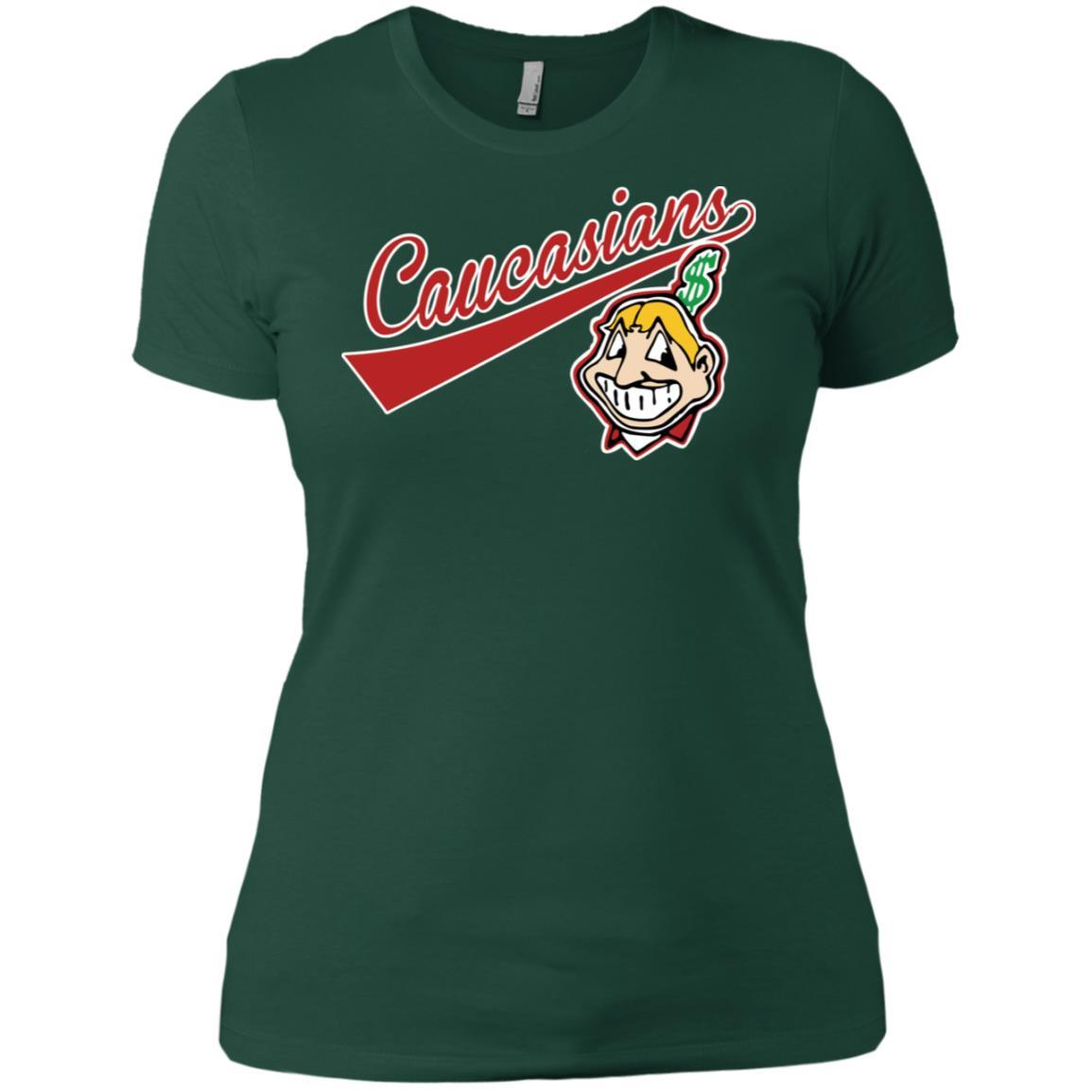 Cleveland Caucasians Native Go Indians - Ladies' Boyfriend T-Shirt Forest Green / 3XL
