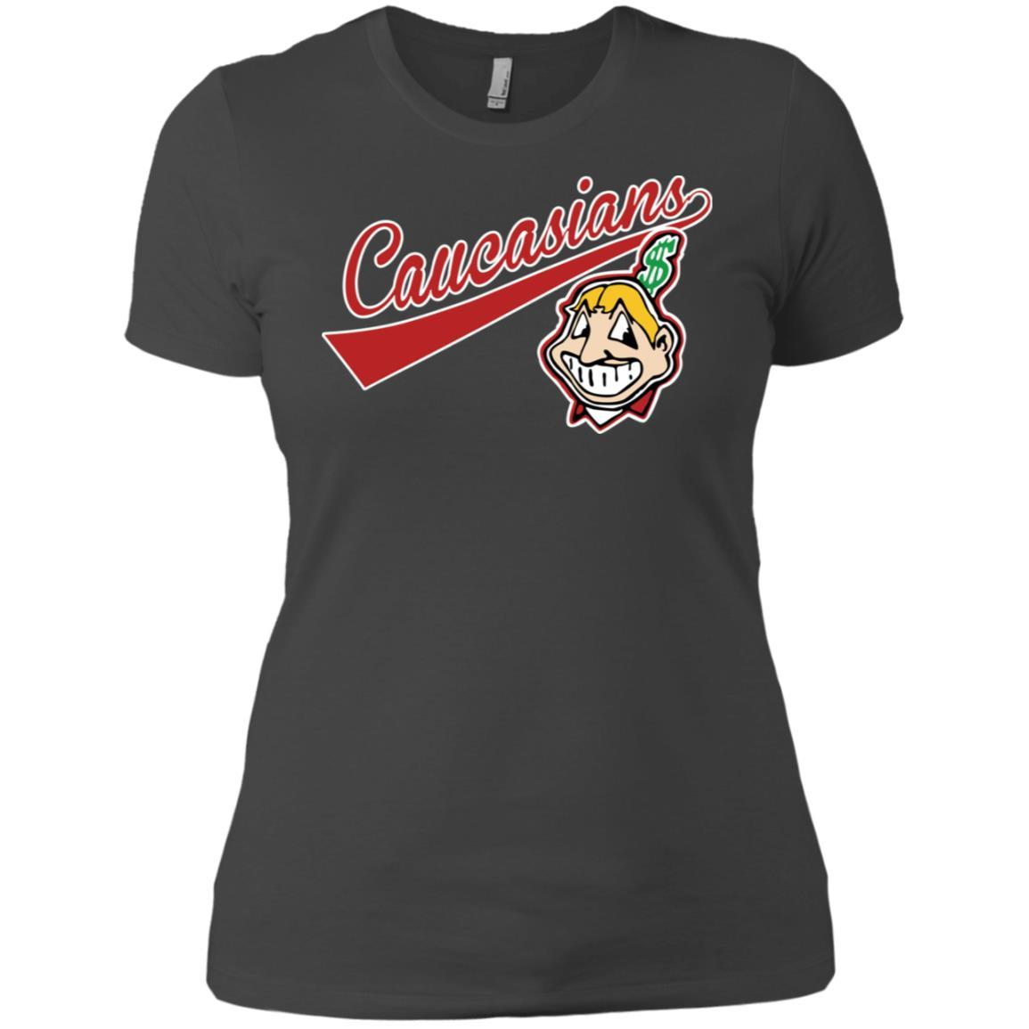 Cleveland Caucasians Native Go Indians - Ladies' Boyfriend T-Shirt Heavy Metal / 3XL