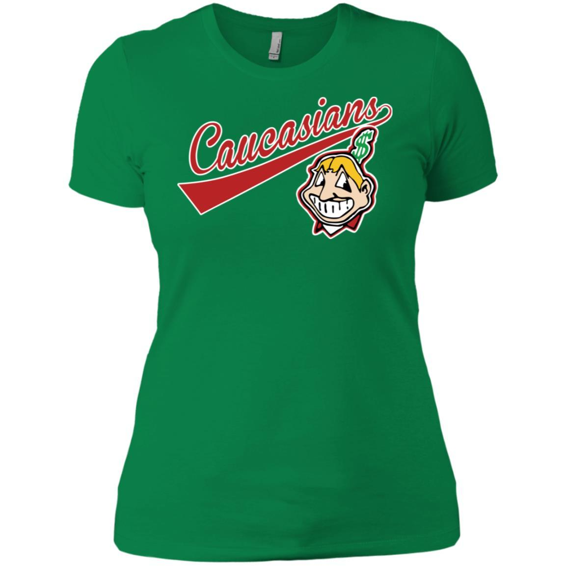 Cleveland Caucasians Native Go Indians - Ladies' Boyfriend T-Shirt Kelly Green / 3XL