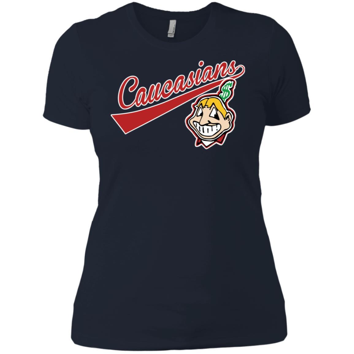 Cleveland Caucasians Native Go Indians - Ladies' Boyfriend T-Shirt Midnight Navy / 3XL
