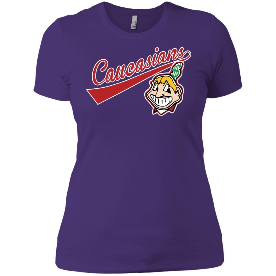 Cleveland Caucasians Native Go Indians - Ladies' Boyfriend T-Shirt Purple Rush/ / 3XL