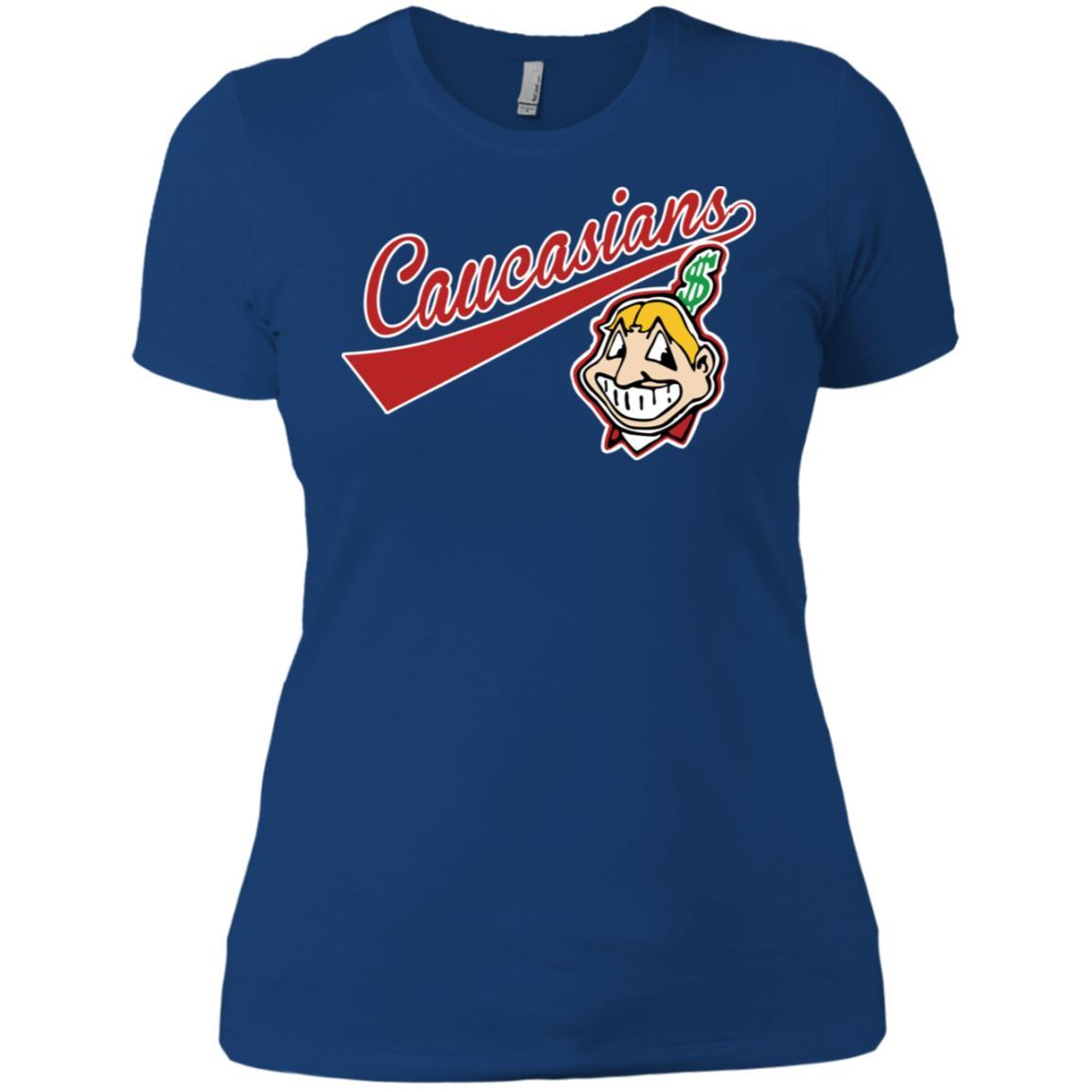 Cleveland Caucasians Native Go Indians - Ladies' Boyfriend T-Shirt Royal / 3XL