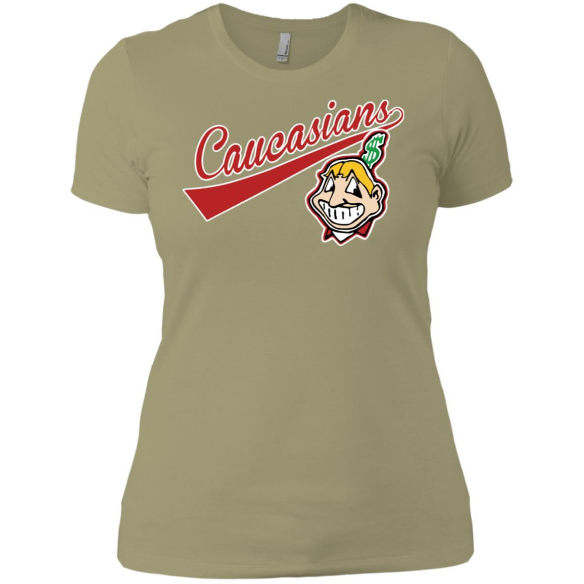 Cleveland Caucasians Native Go Indians - Ladies' Boyfriend T-Shirt Light Olive / 3XL