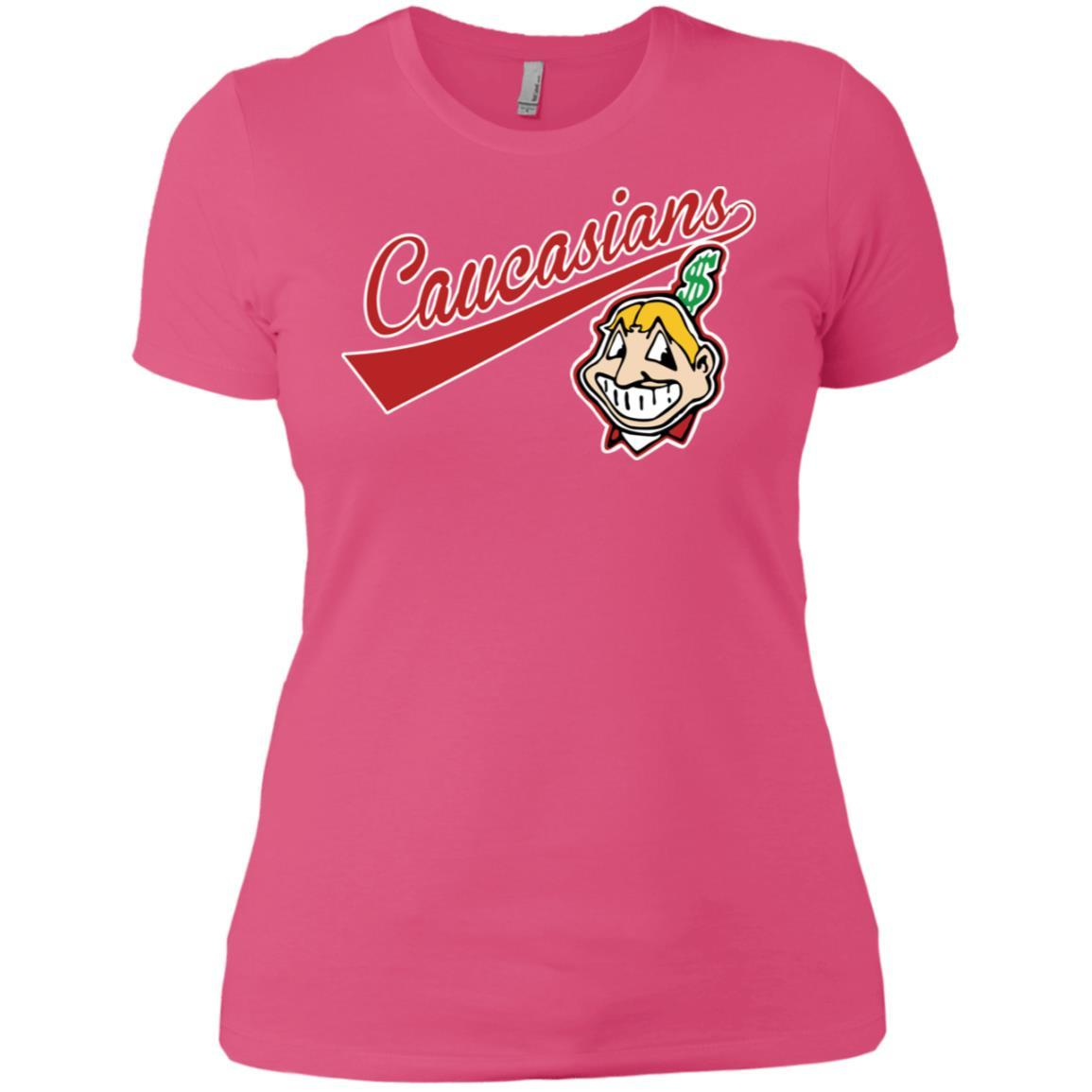 Cleveland Caucasians Native Go Indians - Ladies' Boyfriend T-Shirt Hot Pink / 3XL