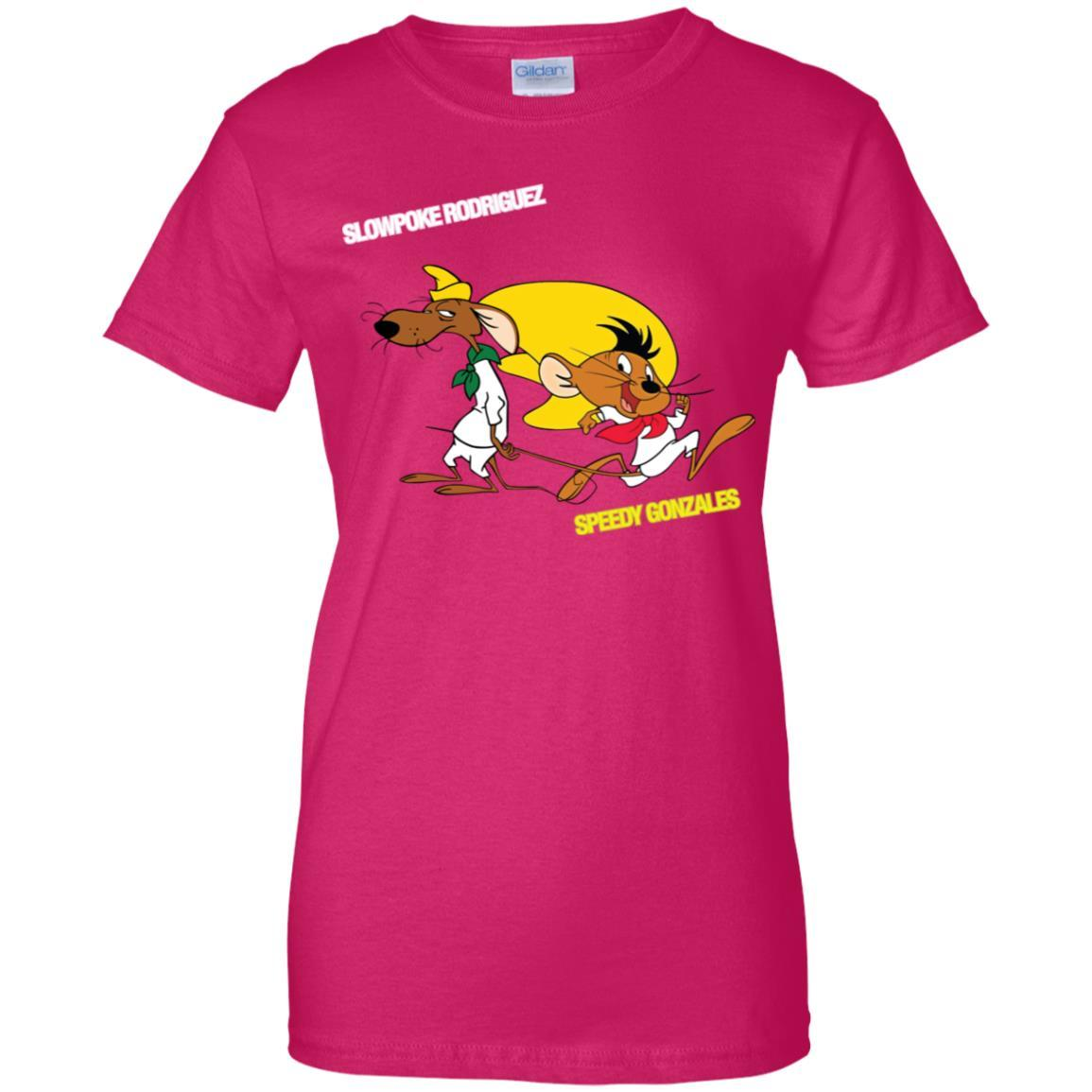 Slowpoke Rodriguez Speedy Gonzalez Funny Vintage Cartoon Tee T-Shirt G200L Gildan Ladies' 100% Cotton T-Shirt / Heliconia / 3XL