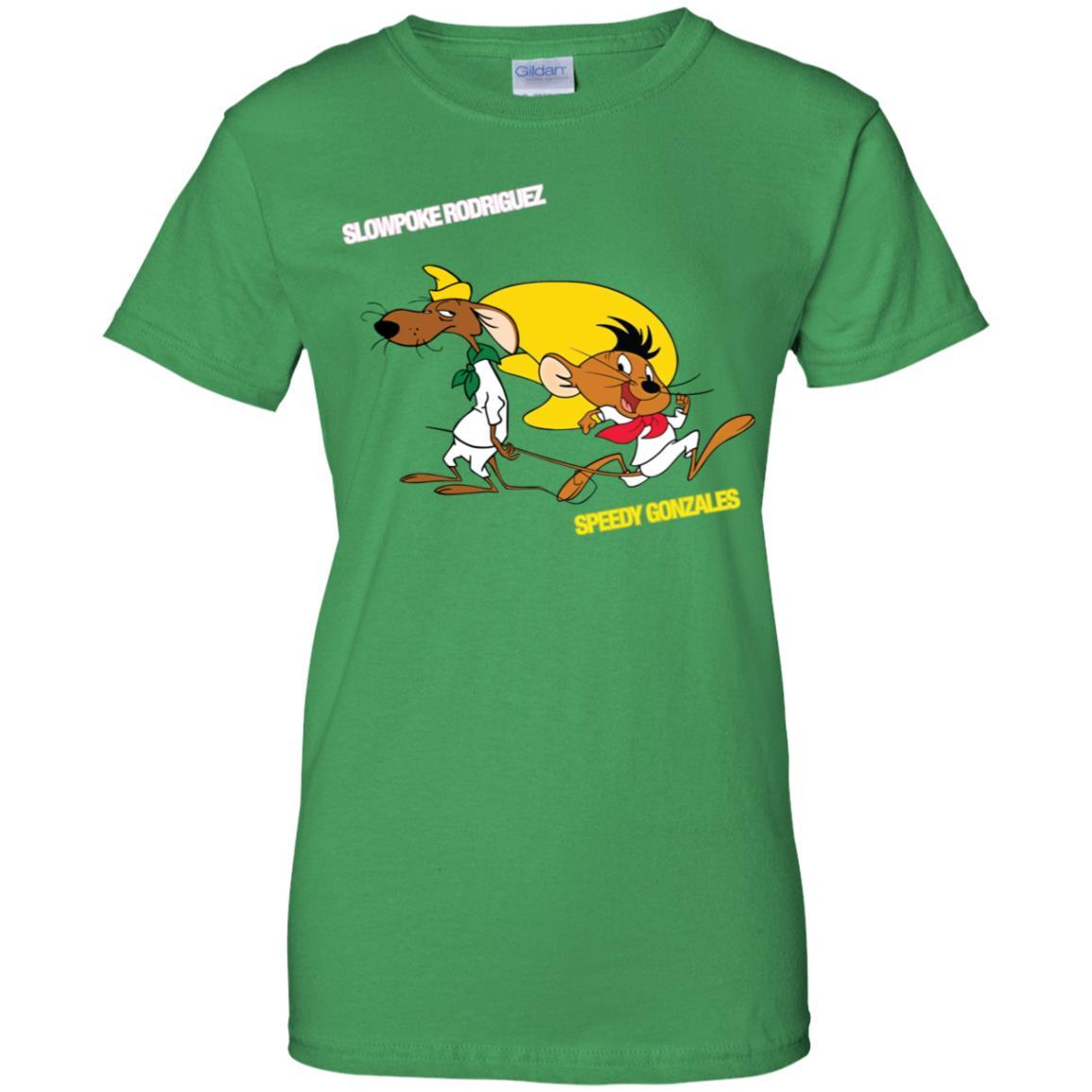 Slowpoke Rodriguez Speedy Gonzalez Funny Vintage Cartoon Tee T-Shirt G200L Gildan Ladies' 100% Cotton T-Shirt / Irish Green / 3XL