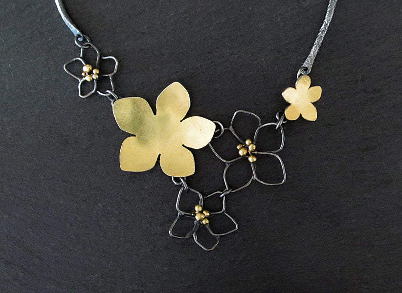 Mixed Metal Flower Necklace