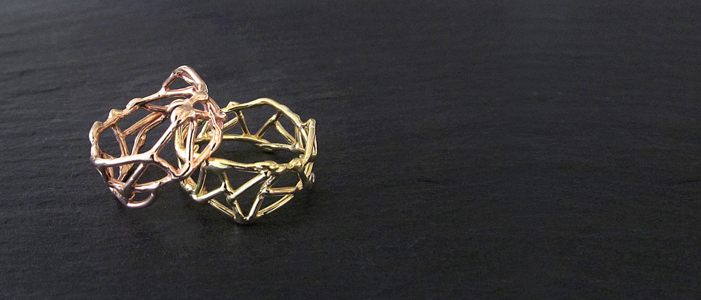 Rings, sterling silver and gold