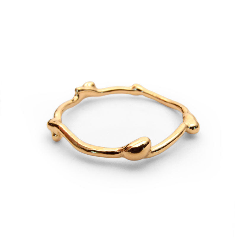 18k gold twig ring, yellow gold, rose gold or white gold