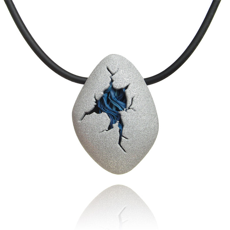 Contemporary Jewelry, blue egg pendant