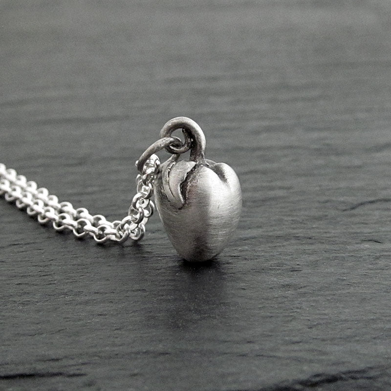 apple necklace charm pendant sterling silver