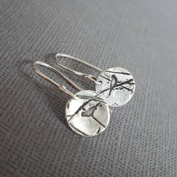 Small sterling silver earrings with birds