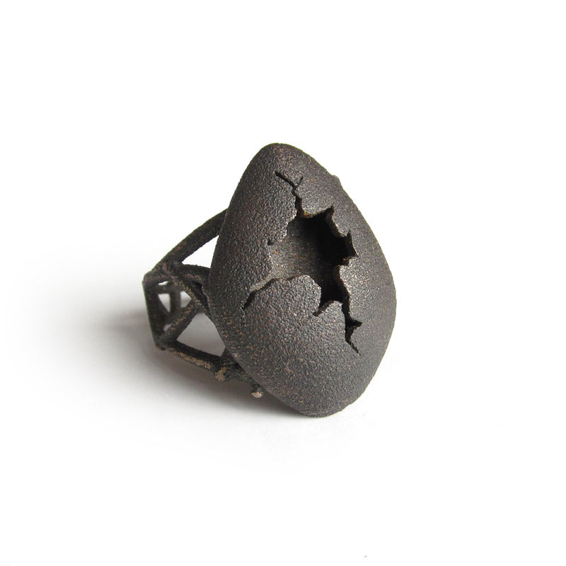 Black Egg Ring, Stainless Steel