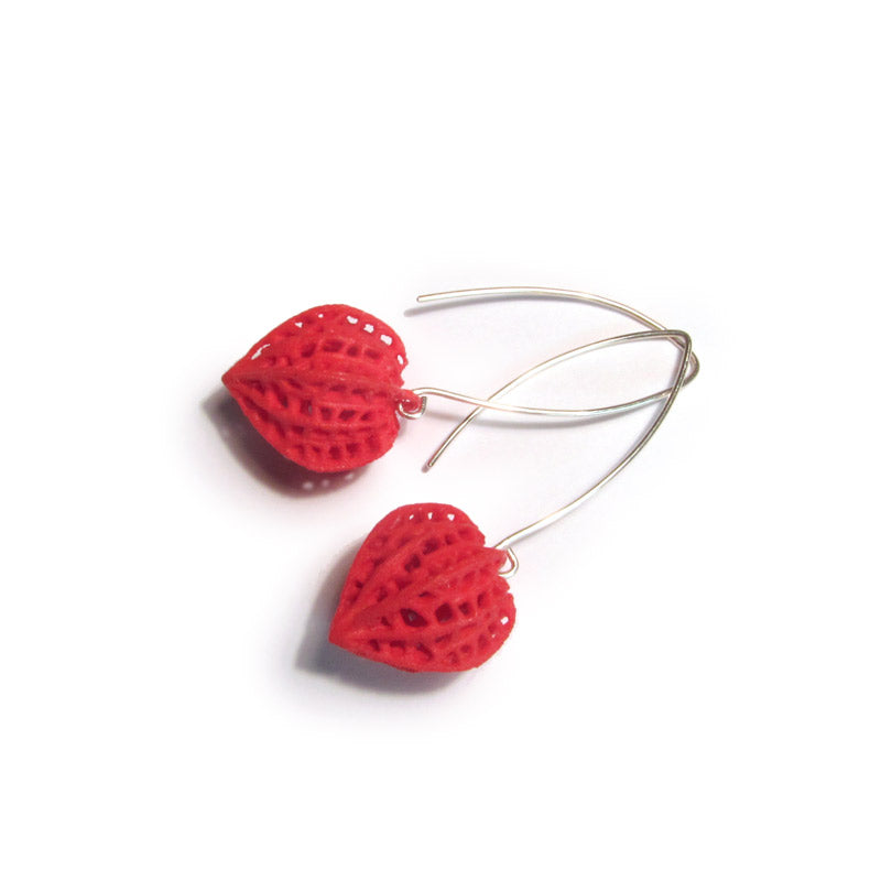 chinese lantern earrings red