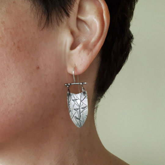 Shield Earrings with Birds, Sterling Silver