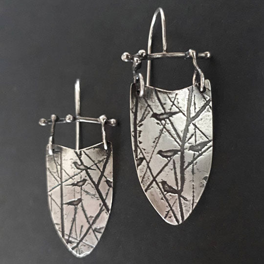 Metalwork Bird Earrings