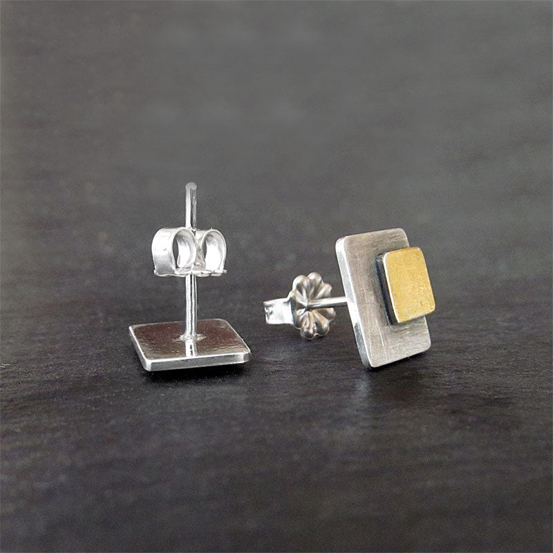 Geometric Stud Earrings, Silver, Gold