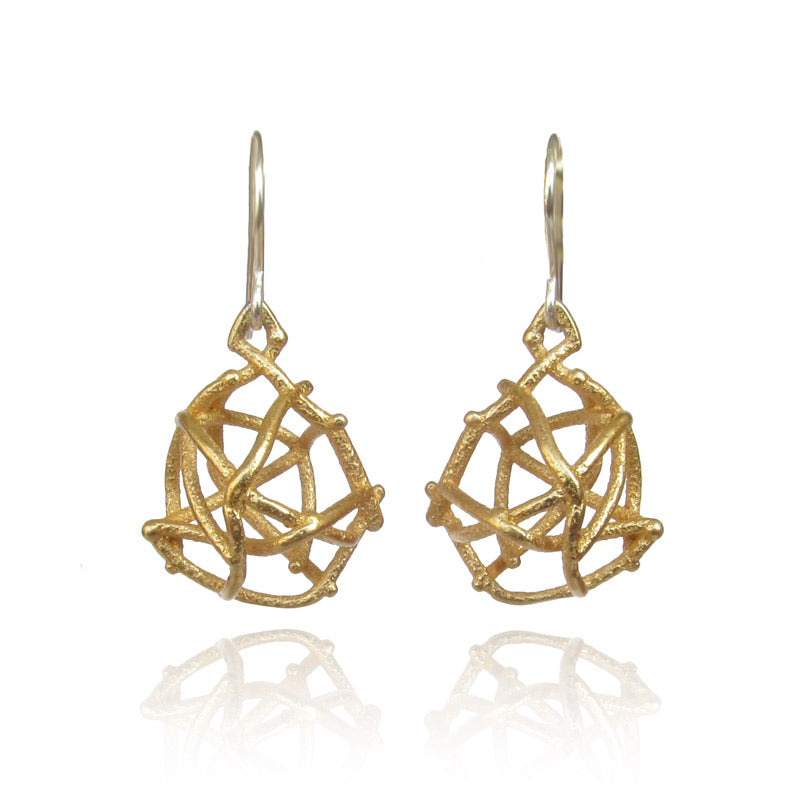 Gold Nest Earrings, Steel Earrings