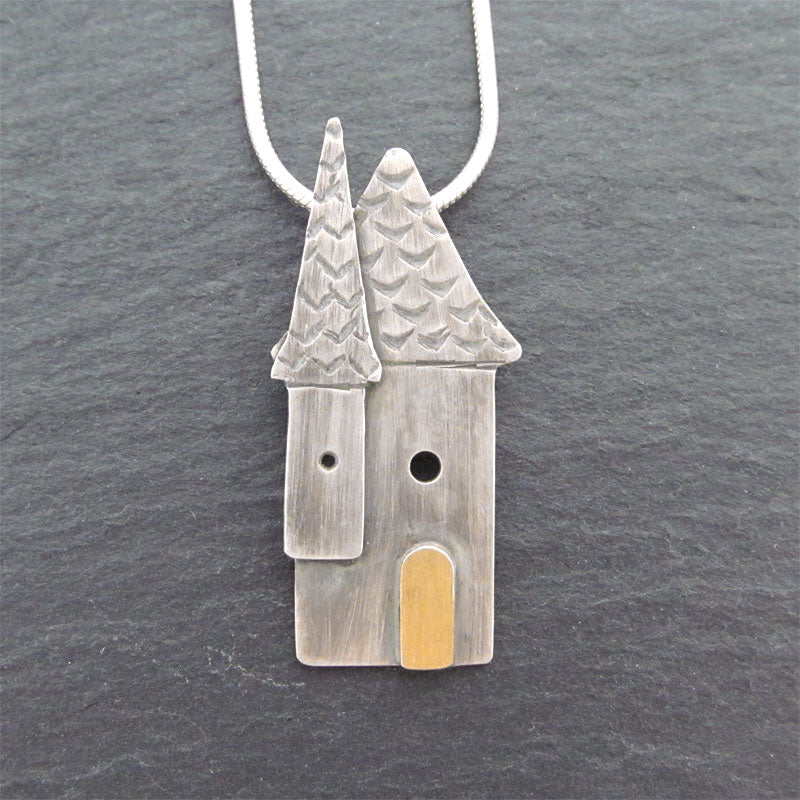Handmade house necklace silver and gold