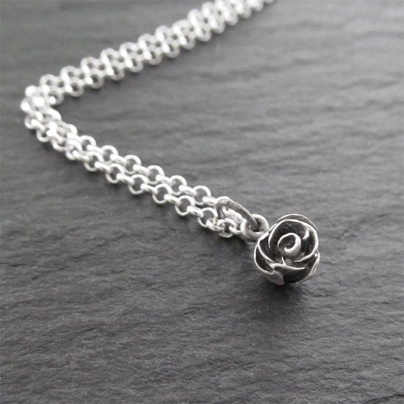 handmade sterling-silver rose pendant necklace