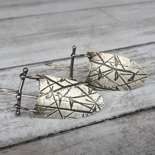 Handmade bird earrings in sterling silver