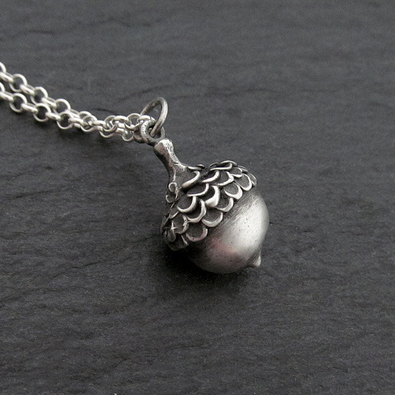 oxidized acorn necklace