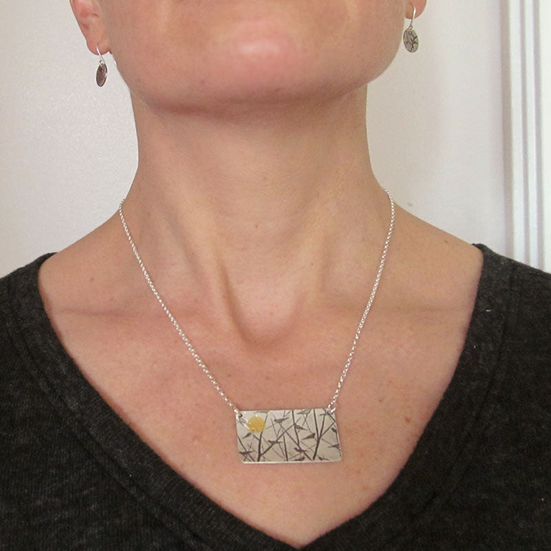 Birds with Sun Necklace, Sterling Silver and Gold