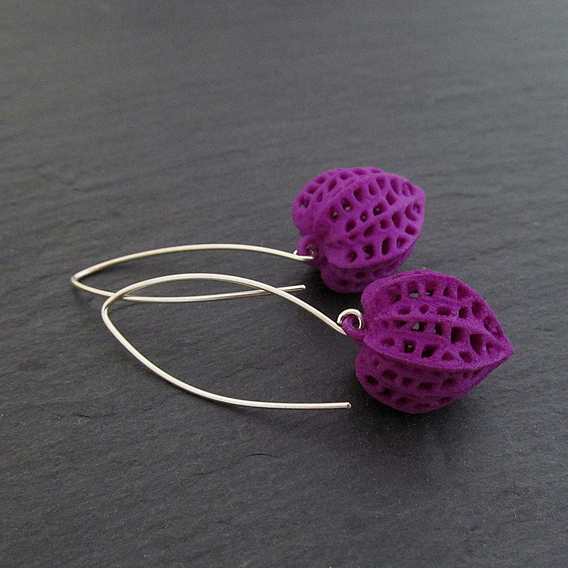 Purple Earrings, Sterling Silver