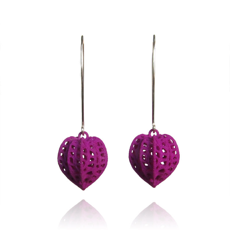 Purple pod earrings
