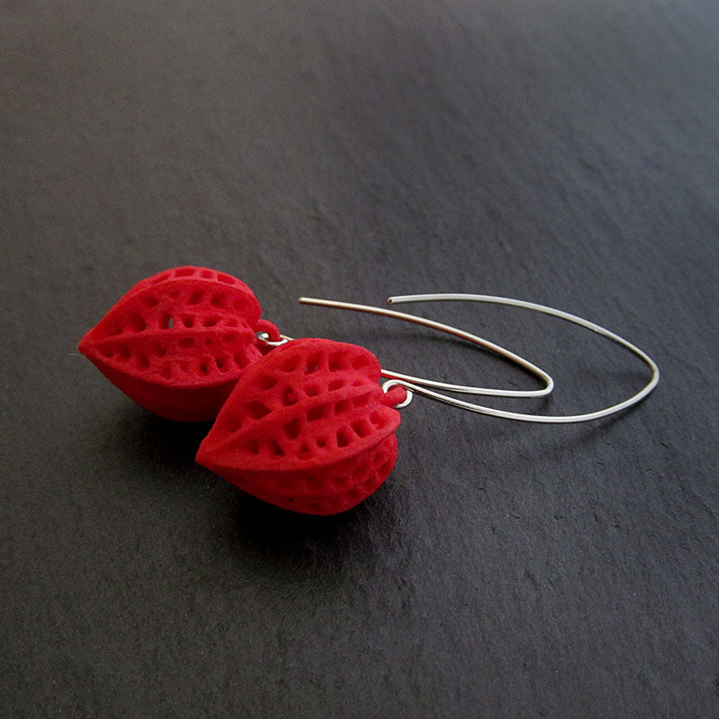 Physalis Earrings, Red