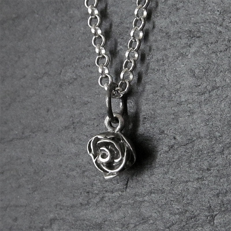 rose charm sterling silver oxidized chain