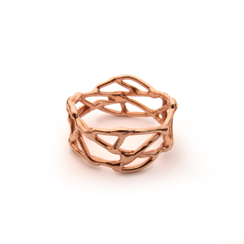 14k rose gold ring, nest ring