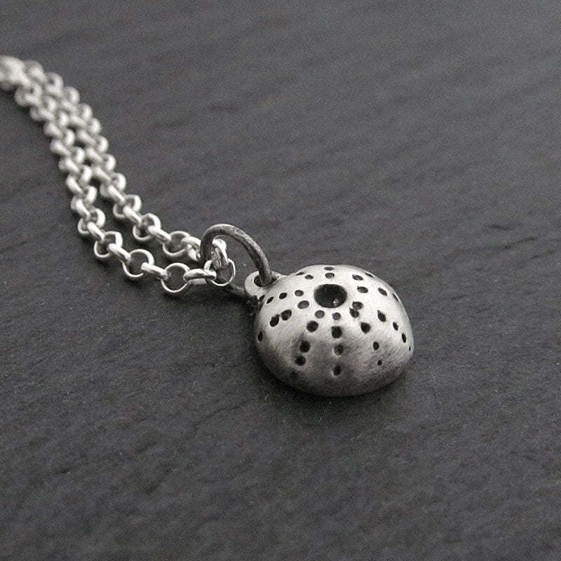 sea urchin necklace, sterling silver, oxidized