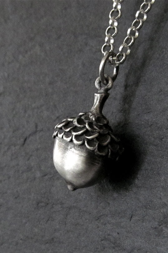 Acorn Necklace, Charm, Sterling Silver
