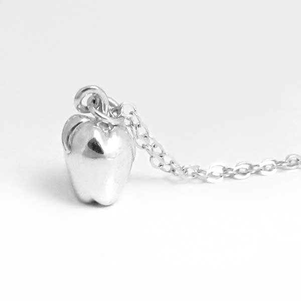 Polished silver apple necklace