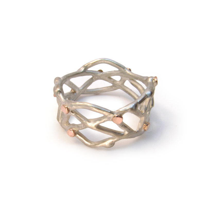 Organic Jewelry, sterling silver and 14k rose gold ring