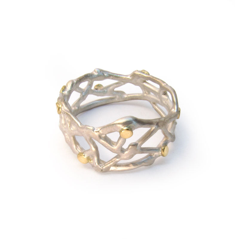 Organic Ring, sterling silver and 18k yellow gold