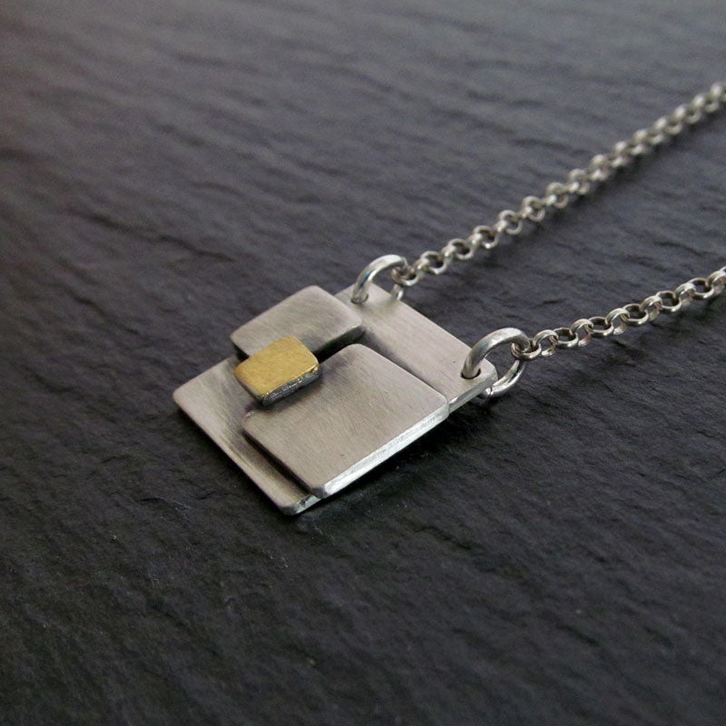 Square Gold and Silver Necklace