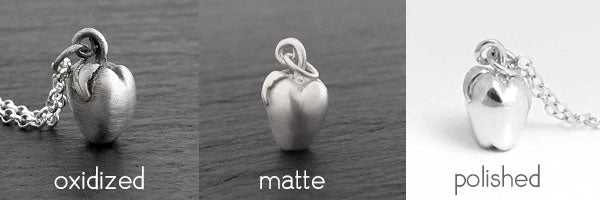 sterling silver apple charm finishes