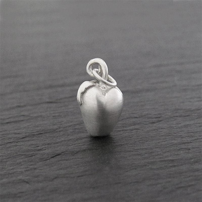 sterling silver apple charm pendant matte
