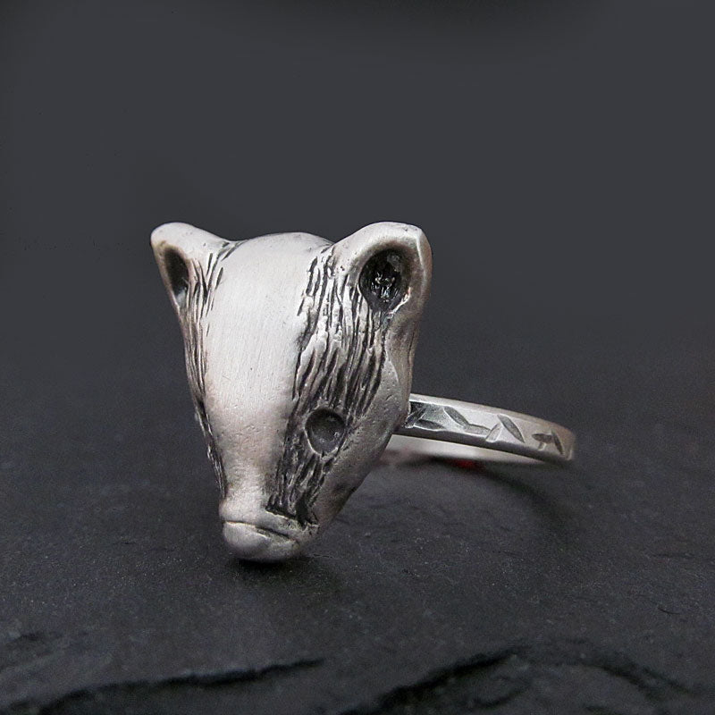 Sterling silver badger ring