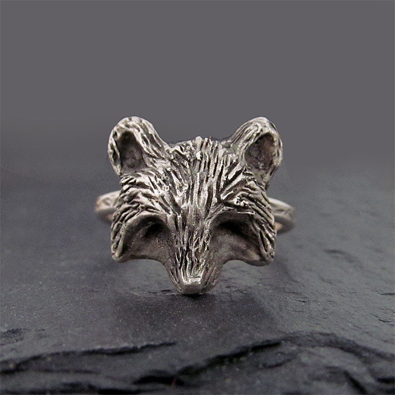 Sterling silver raccoon ring