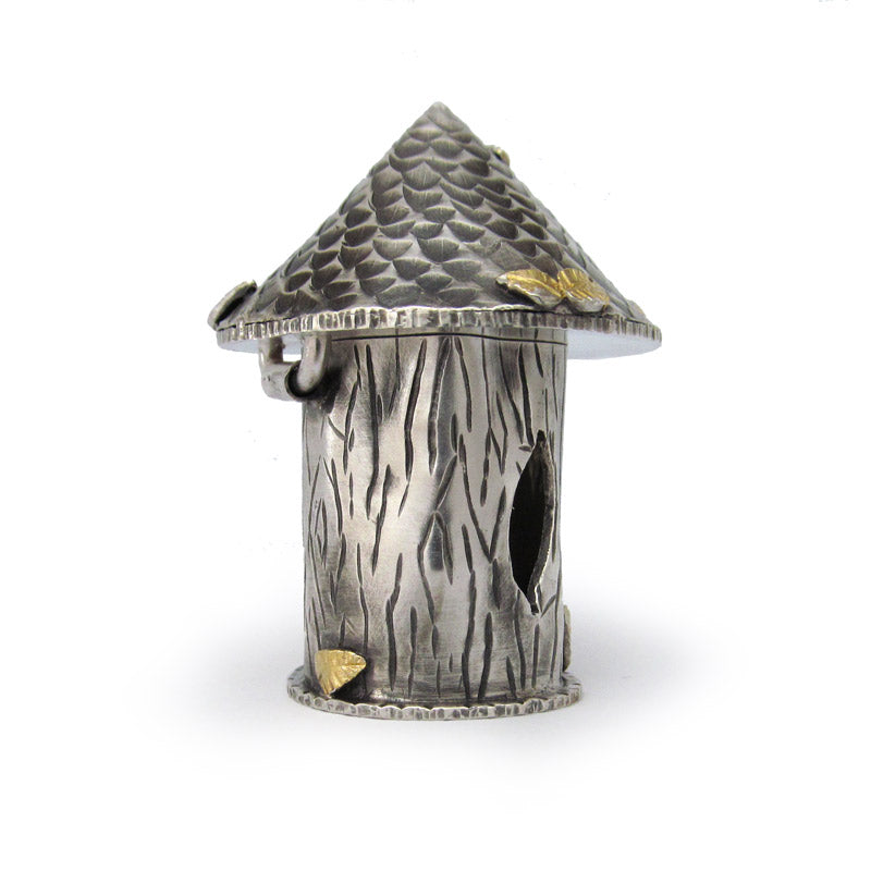 Side view of tree house box, mixed metal, sterling silver, gold foil