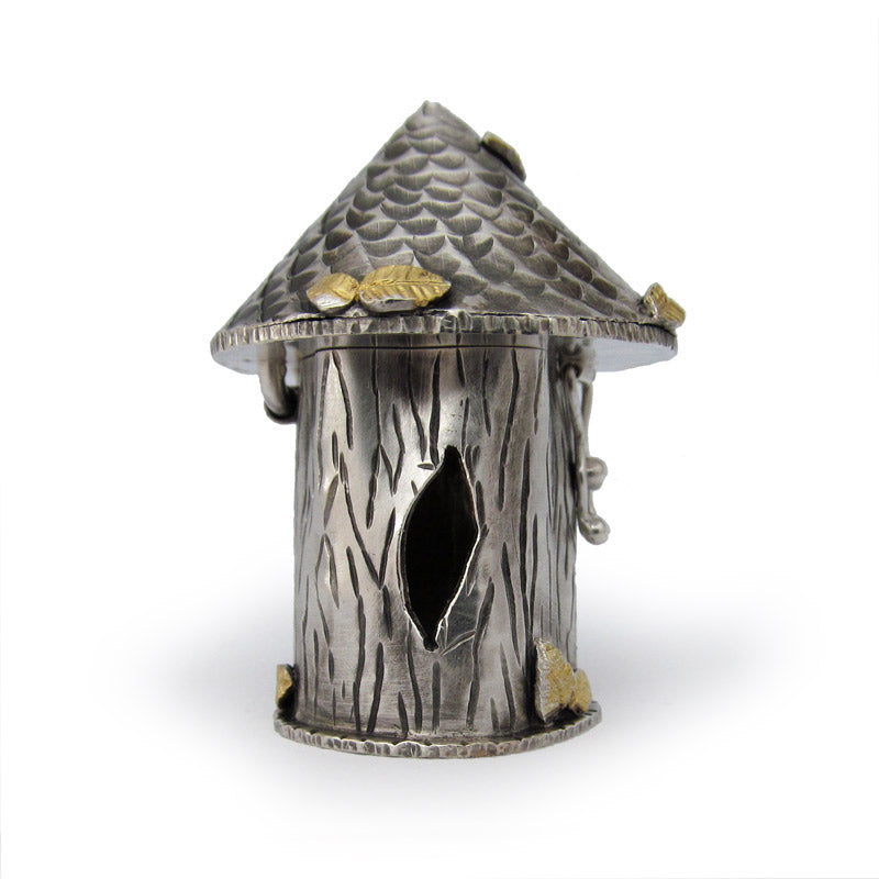 Handmade sterling silver tree house treasure box.