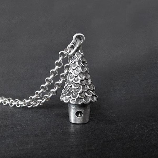 Treehouse Necklace, Charm, Sterling silver