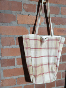 cream and red check tote bag