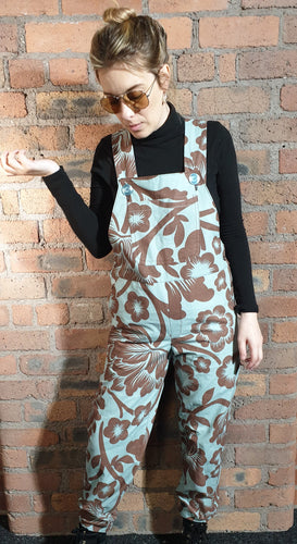 Blue and brown dungarees size 8-10